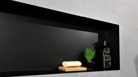 Matt black shower niche
